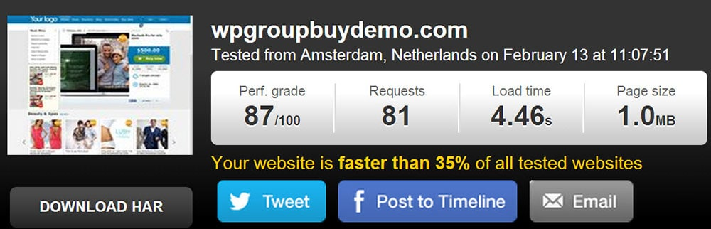 tools.pingdom.com test result